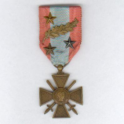 War Cross for Exterior Theatres of Operation (Croix de Guerre des Théâtres d'Opérations Extérieurs) with one palm and three star citations