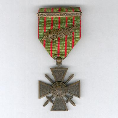 War Cross (Croix de Guerre) 1914-1918 with palm citation and 'Meuse-Argonne' bar on the ribbon, mounted for wear in the American style