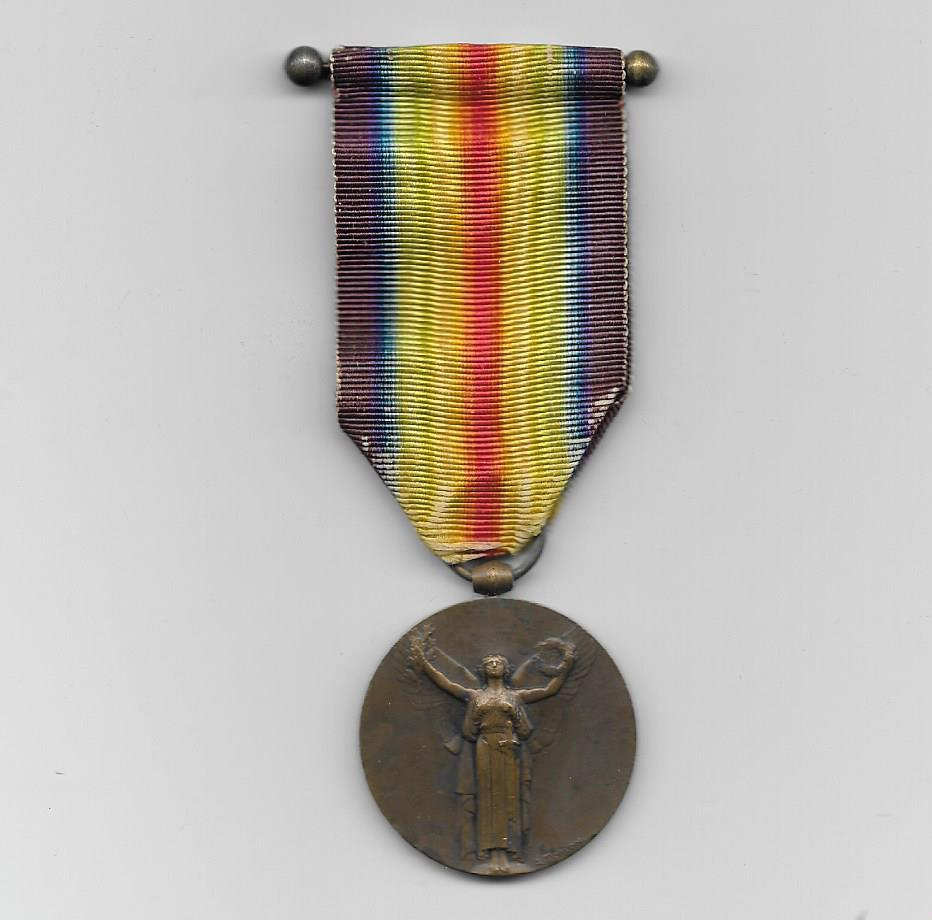 Inter-Allied Victory Medal, French official issue, (Médaille Inter-Alliée de la Victoire) 1914-1918 by Morlon
