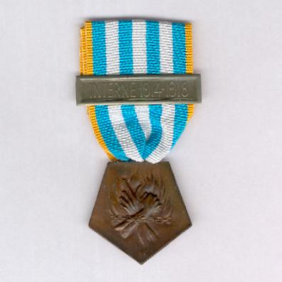 Medal for Deportees and Interned Resisters 1939-1945 with 'Interne 1914-1918' bar (Médaille des Déportés et Internés Résistants 1939-1945 avec barrette 'Interne 1914-1918')