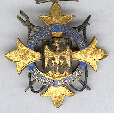 ALPES MARITIMES.  Insignia of the Knights Life-Savers of the Alpes Maritimes, officer (Insigne des Chevaliers Sauveteurs des Alpes Maritimes, officier) by Lemaître of Paris