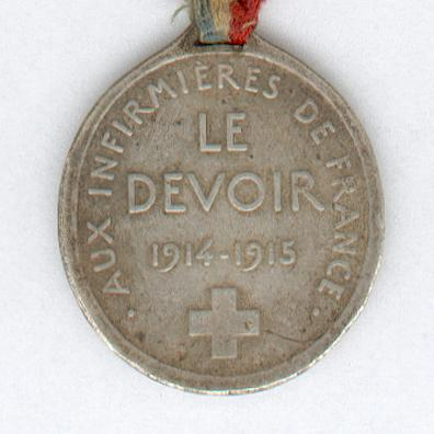 Medal 'for our wounded' for the Nurses of France for Dedication to Duty (Médaille 'pour nos blessés' aux Infirmières de la France pour le Devoir), 1914-1915, by Ovide Yencesse