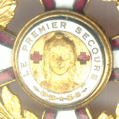 First Aid Decoration, commander (Décoration du Premier Secours, commandeur) in British Red Cross Society pasteboard case