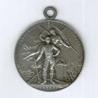 FIRE SERVICE.   Medal for the Concours of 4 June 1905 at Abbeville (Somme), silver (SAPEURS-POMPIERS.   Médaille du Concours du 4 juin 1905 à Abbeville (Somme), en argent) by Arthus Bertrand & Béranger of Paris