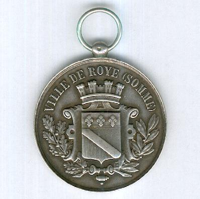 FIRE SERVICE.   Medal for the Concours of 26 May 1895 at Roye (Somme), silver (SAPEURS-POMPIERS.   Médaille du Concours du 26 mai 1895 à Roye (Somme), en argent)