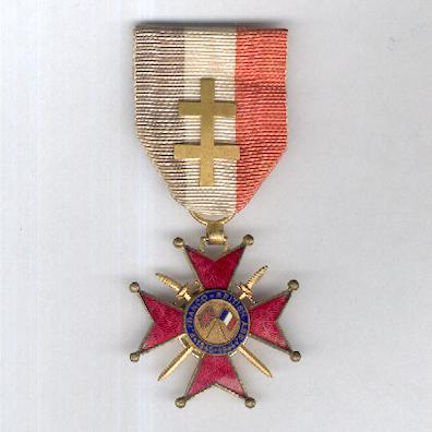 Franco-British Cross of Honour, knight (Croix d'Honneur Franco-Britannique, chevalier), 1940-1944 version, with Cross of Lorraine bar