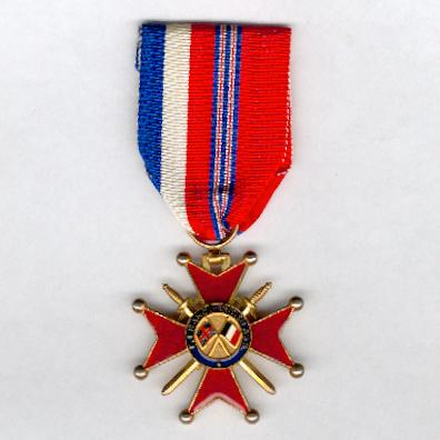 Franco-British Cross of Honour, knight (Croix d'Honneur Franco-Britannique, chevalier), version since 1944