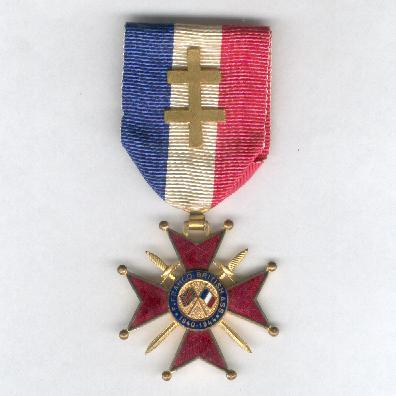 Free French Franco-British Cross of Honour, knight (Croix d'Honneur Franco-Britannique, chevalier), 1940-1944 version, with Cross of Lorraine bar