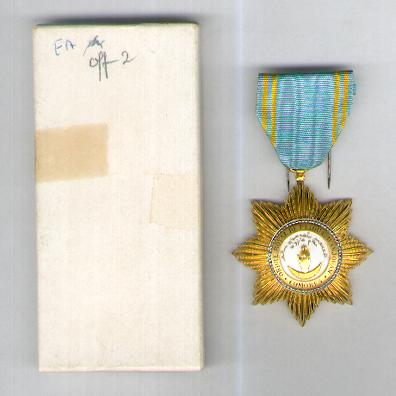 COMOROS. Royal Order of the Star of Anjouan, knight (Ordre Royal de l'Etoile d'Anjouan, chevalier) by Arthus Bertrand of Paris, in box of issue