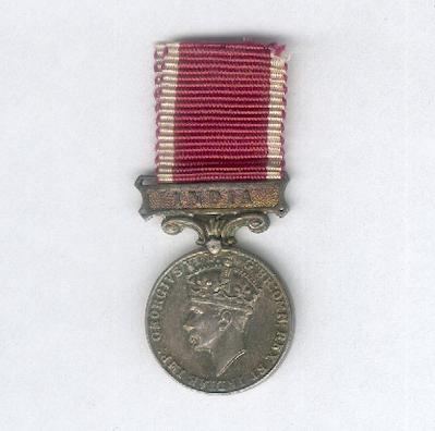 Army Long Service and Good Conduct Medal with 'India' bar, George VI 1937-1948 issue, miniature