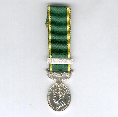 Efficiency Medal, 1939-1952 issue, with Additional Service bar, miniature