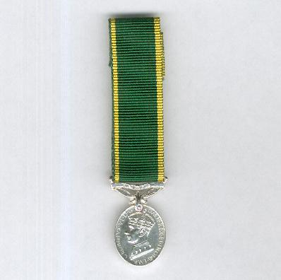 Efficiency Medal, George VI, 1st type, 1937-1948 issue, with 'India' suspension bar, miniature