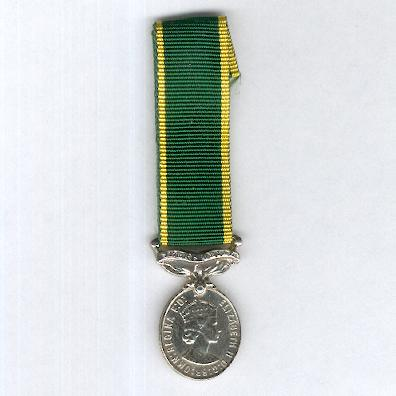 Efficiency Medal, Elizabeth II issue 1953-2000 with 'Territorial' suspension bar, 1953-1954 version, miniature