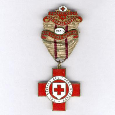 Red Cross Award for Proficiency in Red Cross Work with 'Red Cross Nursing' bar, attributed