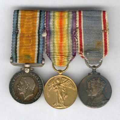 Great War and Coronation 1937 Miniature Trio: British War Medal 1914-1920, Inter-Allied Victory Medal, Great Britain and British Empire issue, 1914-1919 and Coronation Medal 1937 mounted for wear by Spink & Son Ltd. of London