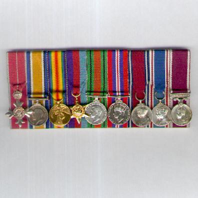 Great War and World War II Miniature Military M.B.E. Group of Nine, court-mounted