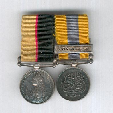 Sudan Miniature Pair: Queen's Sudan Medal, 1896-1897 and Khedive's Sudan Medal 1896-1908 with 'Khartoum' clasp, bar-mounted for wear