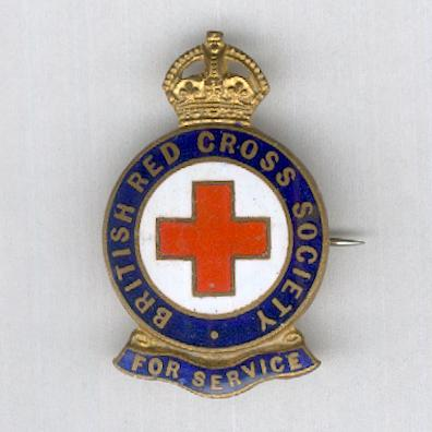 British Red Cross Society Badge for Service, numbered, by J.R. Gaunt of London