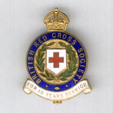 British Red Cross Society Badge for Ten Years' Service, attributed, by J.R. Gaunt of London