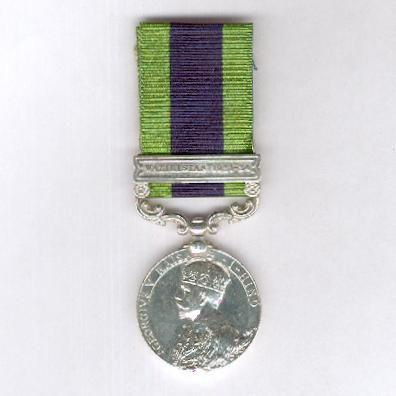 India General Service Medal 1908-1935, George V, 1910-1930 issue, with  'Waziristan 1921-24' clasp, attributed to 2474 Lance-Naik. Abdul Hanif, 4/7 Rajput Regiment