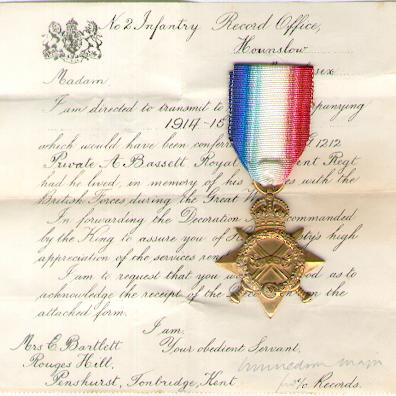 1914-15 Star, attributed to G-1212 Private A. Bassett, Queen's Own (Royal West Kent Regiment) casualty, together with named Record Office enclosure