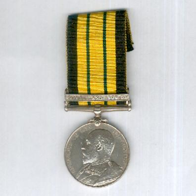 Africa General Service Medal, Edward VII issue with 'Somaliland 1908-10' clasp, attributed to 203728 Able Seaman W.A. Endall, H.M.S. Proserpine
