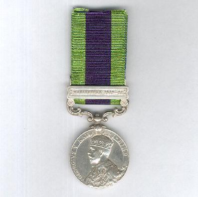 India General Service Medal 1908-1935, George V 1910-1930 issue, with 'Waziristan 1919-21' clasp, attributed to Carpenter Sant Ram, Military Works Service