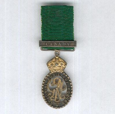 Colonial Auxiliary Forces Officers' Decoration, George V issue, 1910-1930 with 'Canada clasp', miniature