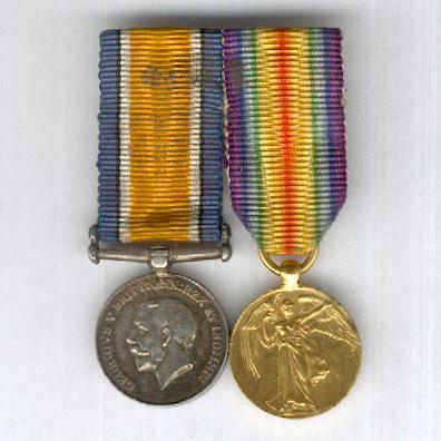 Great War Miniature Pair: British War Medal 1914-1920 and Inter-Allied Victory Medal, Great Britain and British Empire issue 1914-1919, mounted for wear