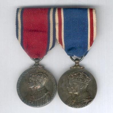 Jubilee and Coronation Pair comprising Jubilee Medal 1935, silver and Coronation Medal 1937, silver, both unnamed as issued, mounted as worn