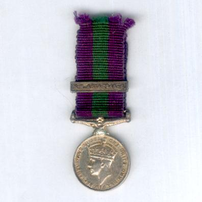 General Service Medal, George VI, 1949-1952 issue, with 'S.E. Asia 1945-6' clasp to known recipient, The Queen's Own (Royal West Kent Regiment), miniature