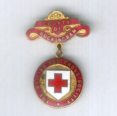 British Red Cross Society, County of Buckingham Badge, 1911-1956 issue, numbered