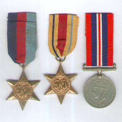 World War II Trio comprising: 1939-1945 Star, Africa Star 1940-1943 and War Medal 1939-1945 attributed to 75123 J.E.C. Moon