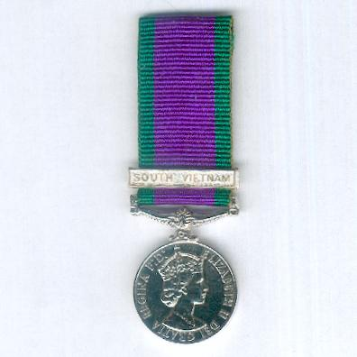 General Service Medal (Campaign Service Medal) 1962-2007 with 'South Vietnam' clasp, miniature