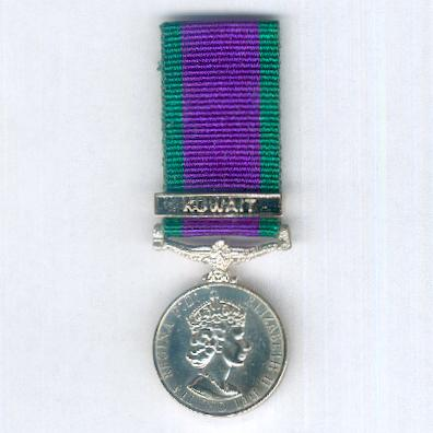 General Service Medal (Campaign Service Medal) 1962-2007 with 'Kuwait' clasp, miniature