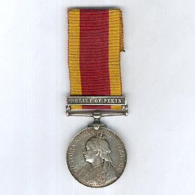 China War Medal 1900 with 'Relief of Pekin' clasp, attributed to 165054 Petty Officer 2nd class J. H. Dickinson, H.M.S. Endymion
