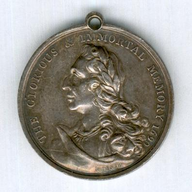 Orange Society, Silver Ticket by William Mossop of Dublin, circa 1798 (D & W 172/554; Eimer 324, M.5942)