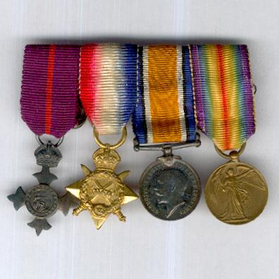 Great War M.B.E. Miniature Group of Four: Order of the British Empire, Member (M.B.E.), Military, 1st type, 1917-1935 issue, silver and 1914-15 Star Trio, bar-mounted for wear