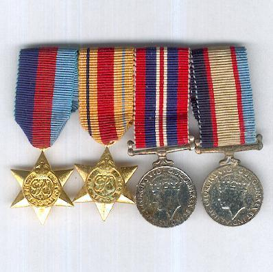 World War II Miniature Group of Four: 1939-1945 Star, Africa Star 1940-1943, War Medal 1939-1945 and Australia Service Medal 1939-1945, bar-mounted for wear