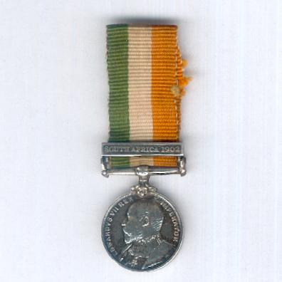 King's South Africa Medal 1901-1902, miniature, with 'South Africa 1902' clasp