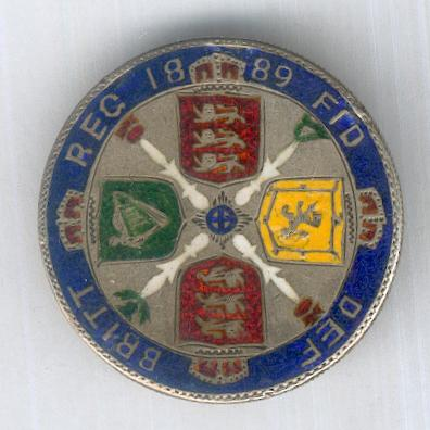 1889 Jubilee Florin, enameled and brooch-mounted