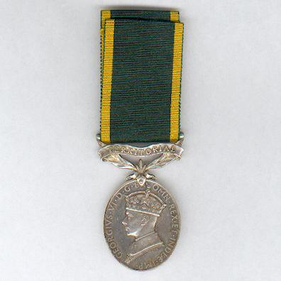 Efficiency Medal, George VI, 1st type, 1937-1948 issue, with 'Territorial' bar, attributed, Royal Artillery