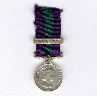 General Service Medal, Elizabeth II, 1955-1962 issue with 'Malaya' clasp, miniature
