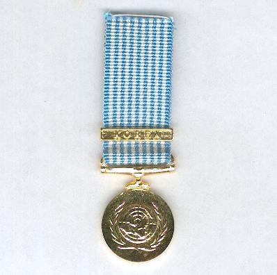 United Nations Korea Medal, 1950-1953, British and Commonwealth issue, miniature, modern