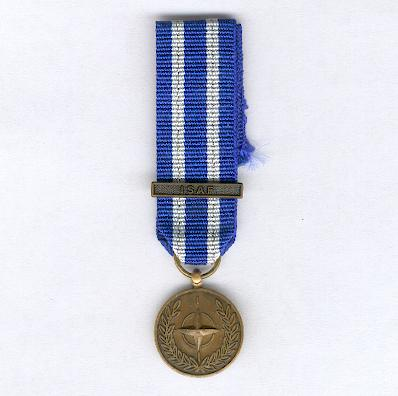 NATO Service Medal for Afghanistan with 'ISAF' bar, miniature