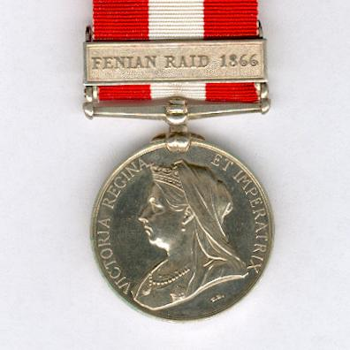 Canada General Service Medal 1866-70 with 'Fenian Raid 1866' clasp, attributed to Private Richard Donaghy, 4th Canadian Chasseurs (4me Chasseurs Canadiens)