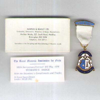 Royal Masonic Institution for Girls, 186th Anniversary Festival Stewards Badge, 1974, with compliments card, in pasteboard case of issue by Marples & Beasley Ltd., Birmingham