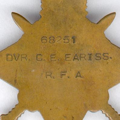 1914-15 Star attributed to 68251 Driver Charles E. Eariss, Royal Field Artillery casualty