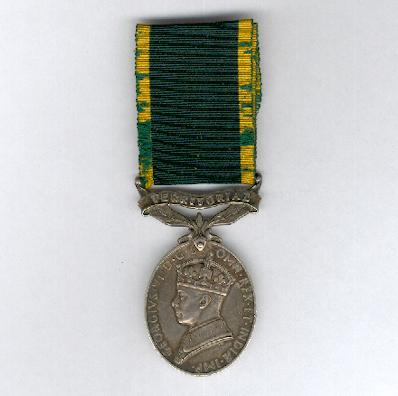Efficiency Medal, George VI, 1st type, 1937-1948 issue, with 'Territorial' bar, attributed, The Buffs