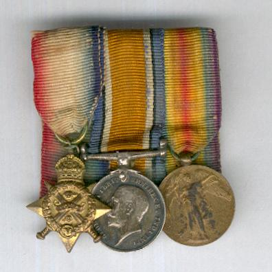 Great War Miniature Star Trio: 1914 Star (Mons Star), British War Medal 1914-1920 and Inter-Allied Victory Medal, Great Britain and British Empire issue, 1914-1919, court-mounted